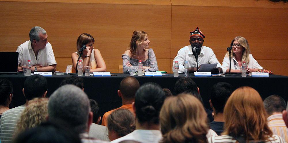 De izquierda a derecha: Pajares, Martínez, Moret, Fosso y ___ durante la presentación que llenó Can Massallera // Jose Polo